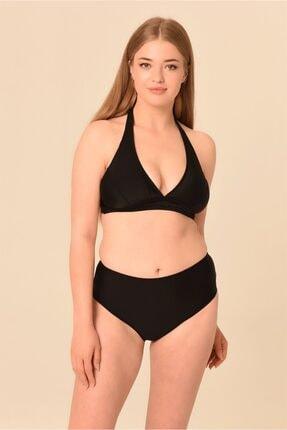AQUAVİVA Kadın Siyah Büyük Beden Yüksek Bel Boyundan Bağlı Bikini Takımı