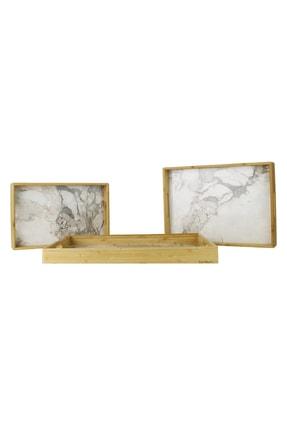 Bambum Marbel 3' Lü Mermer Desenli Tepsi Fildişi