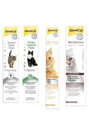 Gimcat Taurine 50gr + Gastro 50gr +Multi Vitamin 100gr Paste +Anti-hairball Malt 100gr Paste Kedi Macunları