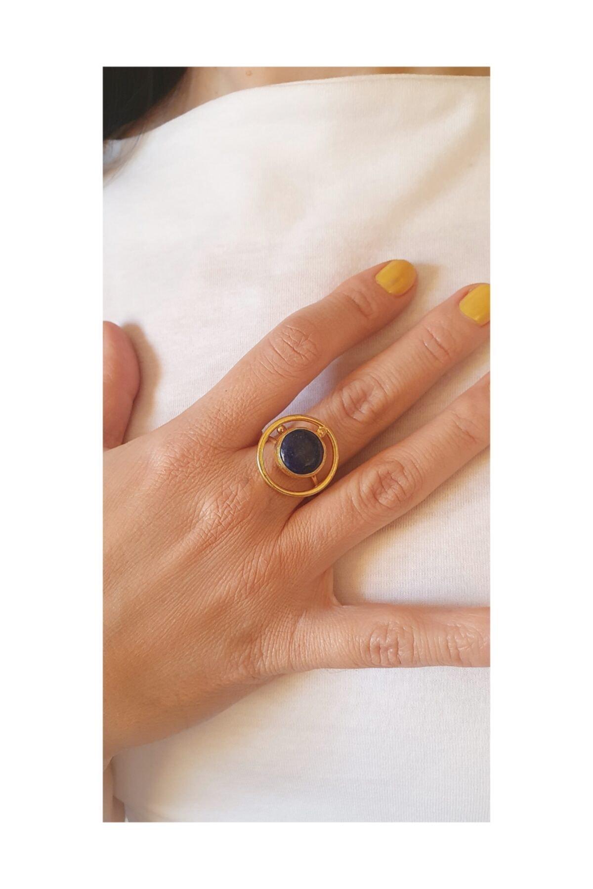 LOVI Kadın doğaltaş lapis taşlı saturn modeli el yapımı altın kaplama yüzük 2