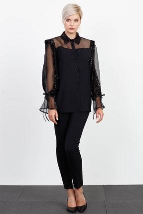 Moda İlgi Modailgi Payetli Şifon Detaylı Erkek Yaka Gömlek Siyah