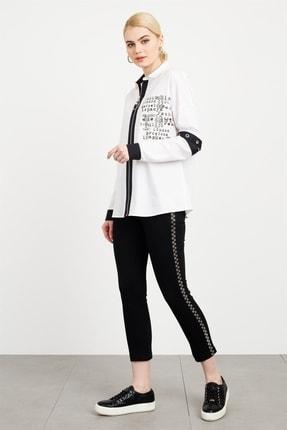 Moda İlgi Fermuarlı Baskılı Coton Gömlek Beyaz