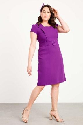 Moda İlgi Modailgi Mono Yaka Detaylı A Form Elbise Mor