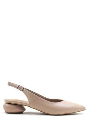 Buffalo Cream Stylısh Fashıon Topuklu Ayakkabı