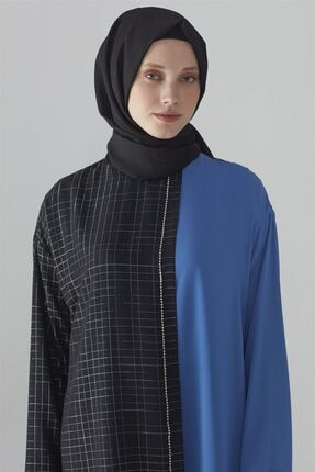 Zühre Kristal Taş Işlemeli Tunik Saks-siyah Kadın