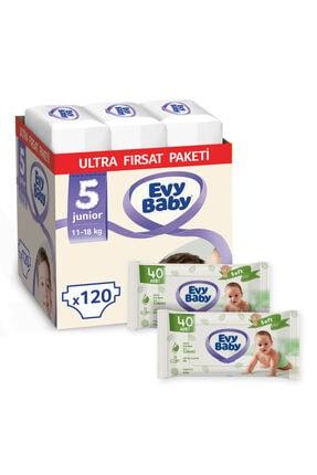 Evy Baby Bebek Bezi 5 Numara Junior 120 Adet Ve 2 Paket Islak Hvl