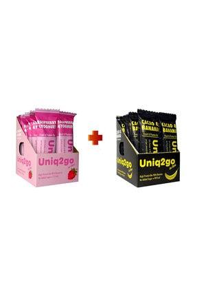 Uniq2Go Yoğurt Aromalı ve Ahududulu Protein Bar 12'li Kutu+ Kakaolu ve Muzlu  Protein Bar 12'li Kutu