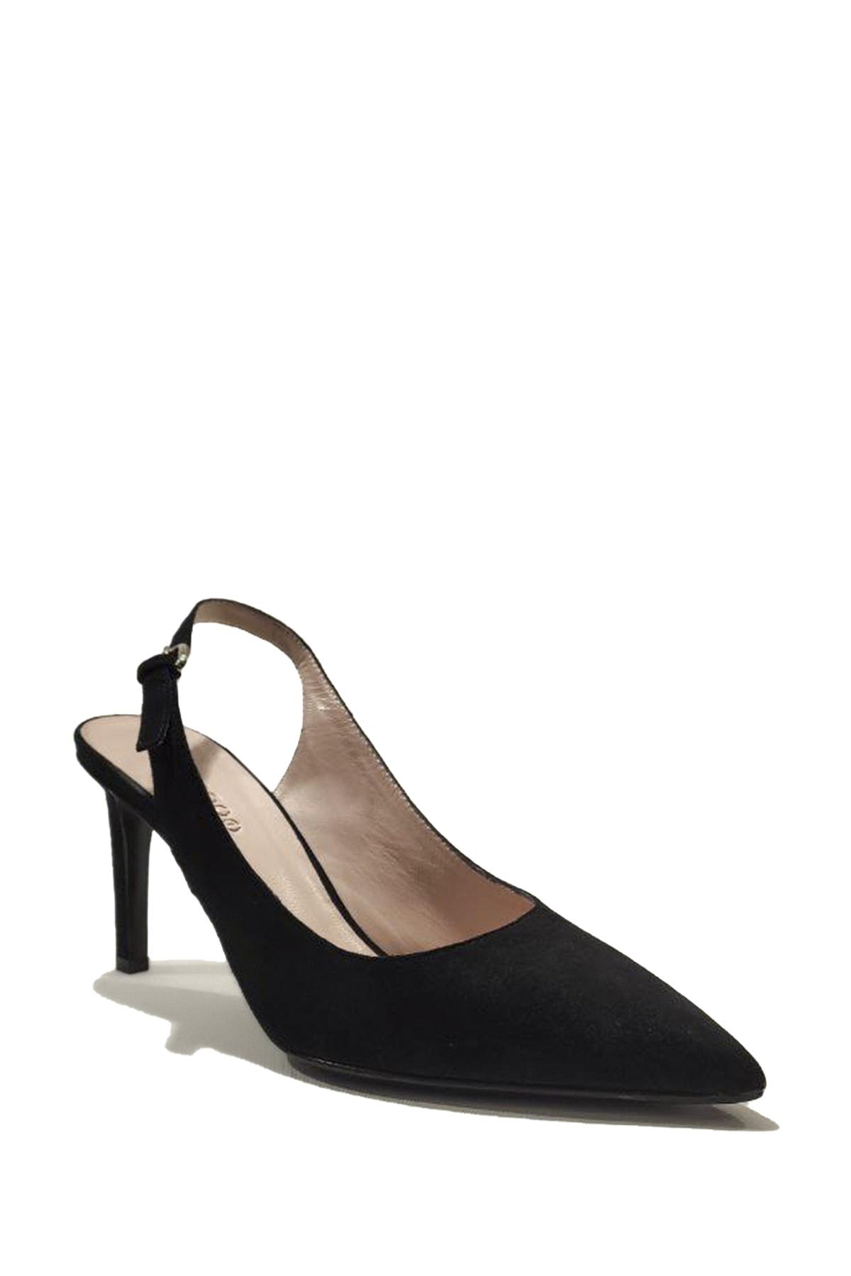 Nursace Kadın Süet Bilekten Bağlamalı İnce Topuk Ayakkabı 1