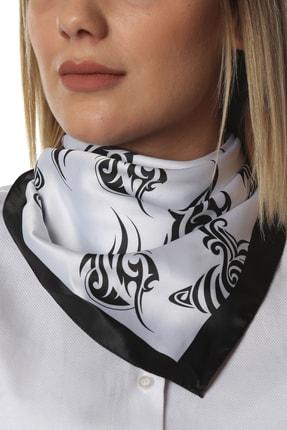 Modabutik Premium Desenli Fular Siyah Beyaz 108.99