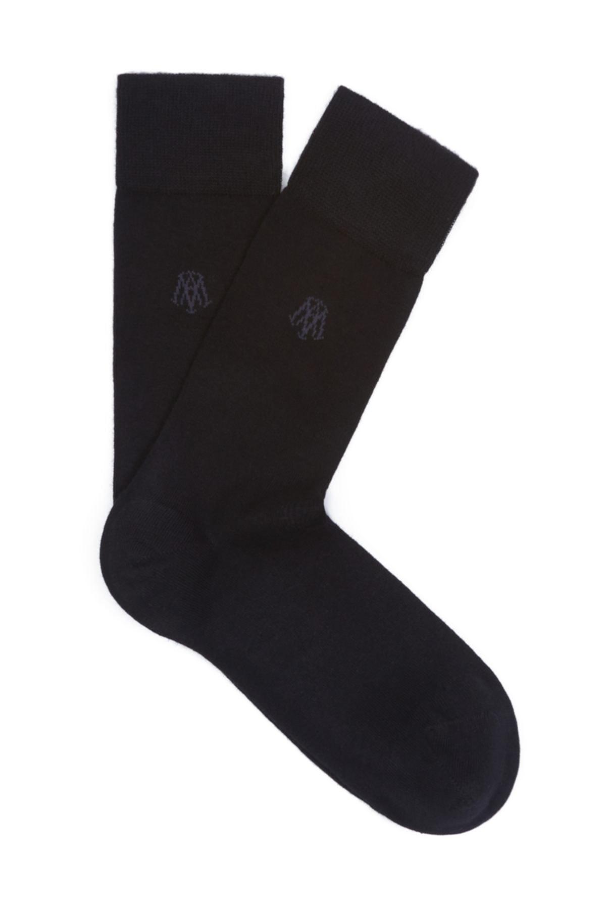 Mavi Erkek Siyah Uzun Çorap 1