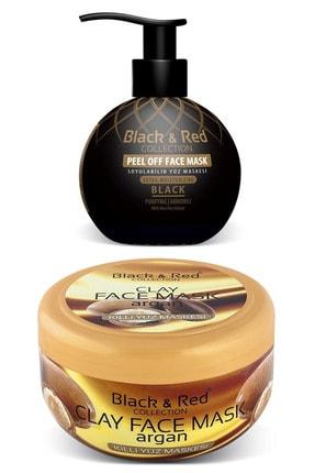 Black Red Soyulabilir Siyah Nokta Temizleyici Maske + Killi Yüz Maskesi - Cilt Temizleme Seti