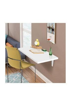 ACELYA Katlanır Duvara Monte Masa Mutfak Masası Çalışma Masası 45x90cm 25mm Kalınlık Beyaz Renk