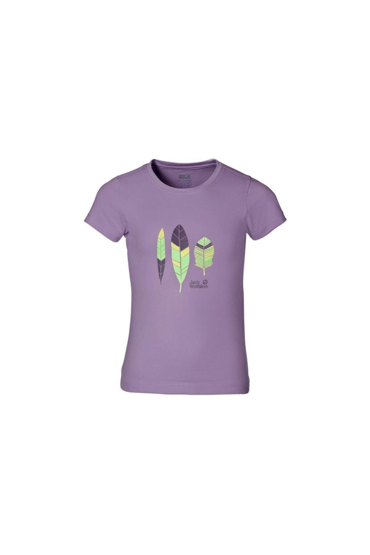 Jack Wolfskin Kız Çocuk Mor Baskılı Tshirt 1604861-2061 1