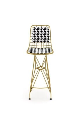 Kenzlife Kafes Tel Bar Sandalyesi 1'Li Zengin Altkono Sırt Minderli Ofis Cafe Bahçe Mutfak