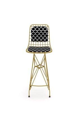 Kenzlife Kafes Tel Bar Sandalyesi 1 Li Zengin Altviona Sırt Minderli Ofis Cafe Bahçe Mutfak