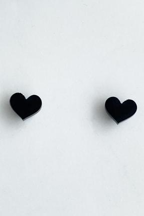 TAKIŞTIR Siyah Renk Kalp Figürlü Mıknatıslı Küpe