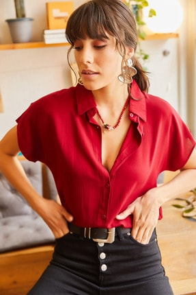 Olalook Kadın Vişne Çürüğü Yarasa Viskon Gömlek GML-19000617
