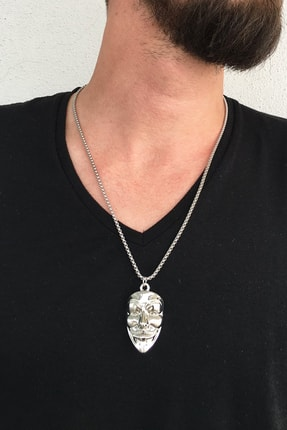 TAKIŞTIR Gümüş Renk Maske Figürlü Çelik Kolye
