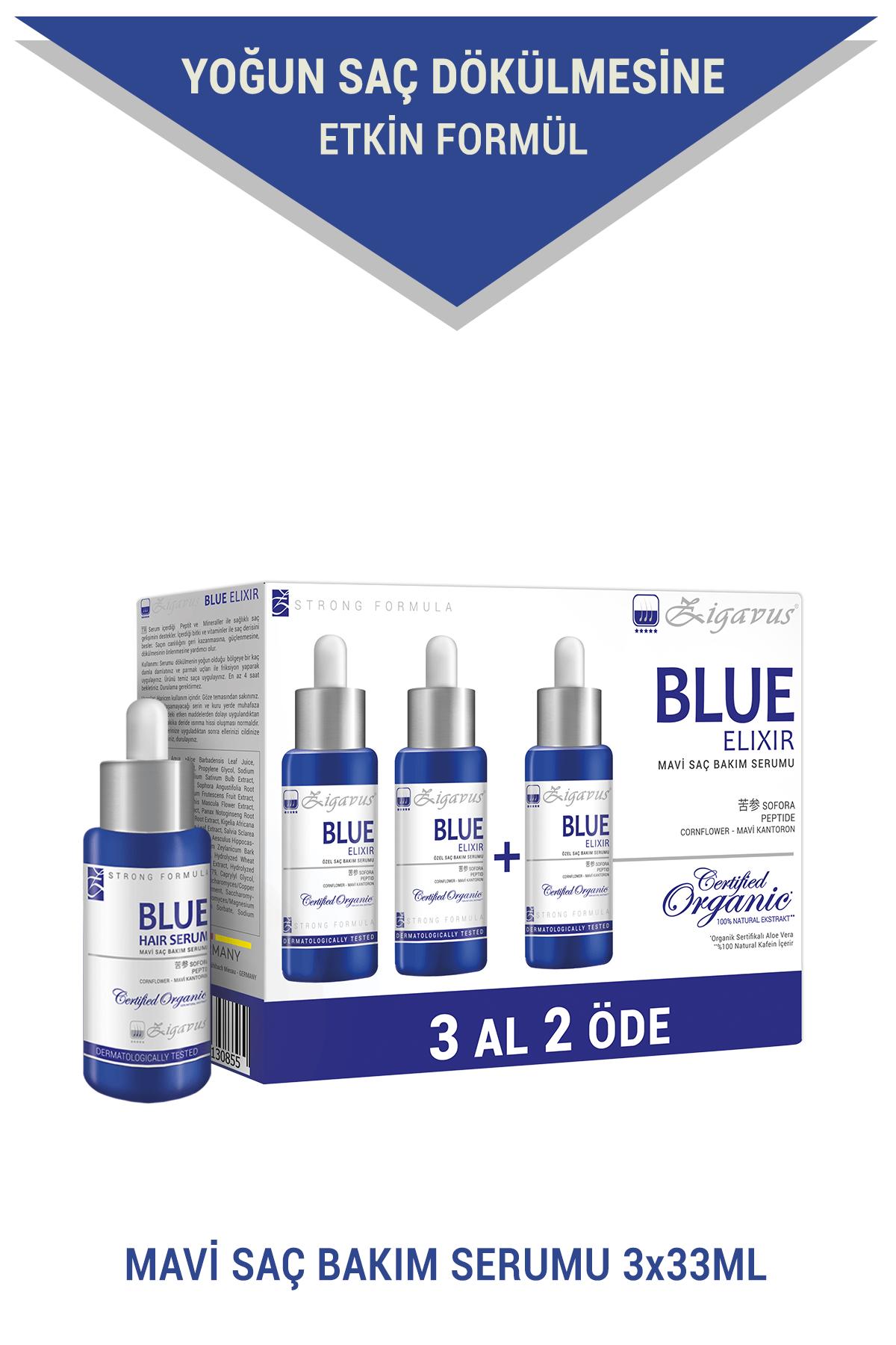 Zigavus Blue Saç Bakım Serumu 3x33 ml (3 al 2 öde) - Mavi Su 8699349130855 1