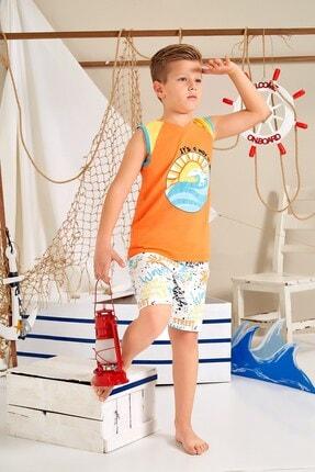 Lohusa Sepeti Erkek Çocuk Turuncu Sörfçü Şort Takımı - 0034