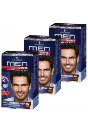 SCHWARZKOPF HAIR MASCARA Men Perfect 80 Siyah Kahve 3 Lü