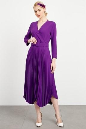 Moda İlgi Kadın Mor  V Yaka Kruvaze Pilisoley Elbise