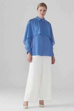 Zühre Kadın Broş Detaylı Gömlek Saks G-0031