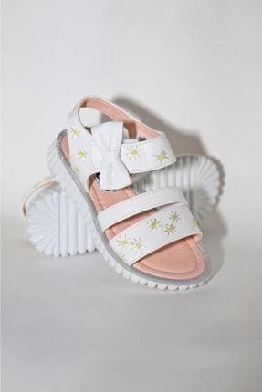 Vicco Beyaz Renkli Çiçek Desenli Kurdeleli Cırtlı Kız Çocuk Sandalet