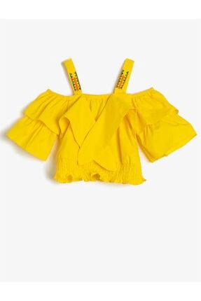 Koton Kız Çocuk Sarı İşlemeli Bluz