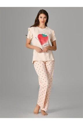 NBB Çilekli Pijama Takımı 66681 Somon