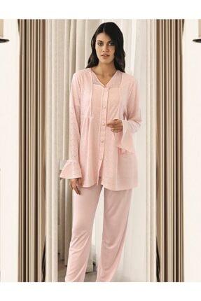 Fc Fantasy Lohusa Pijama Takımı Jakar Sabahlıklı 3'lü Takım