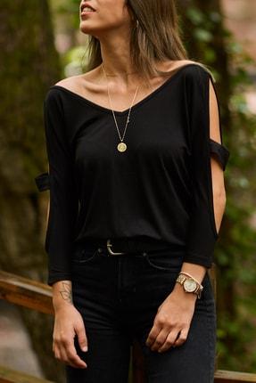XHAN Kadın Siyah Omuz Detaylı Bluz  9KXK2-41652-02