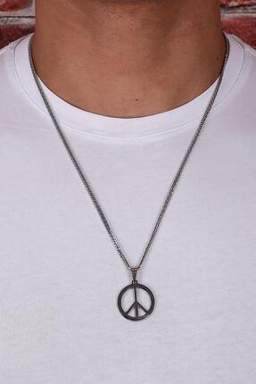 Kravatkolik Gümüş Renk Peace Kolye Kly122