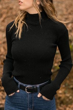 XHAN Kadın Siyah Siyah Yarım Balıkçı Kazak 9yxk6-41556-02