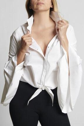 Ebru Günay Kadın Dokuma Beyaz Gömlek