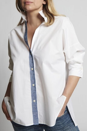 Ebru Günay Dokuma Beyaz Gömlek