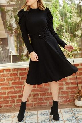 XHAN Kadın Siyah Omuzu Büzgülü Kemerli Elbise 9YXK6-41915-02