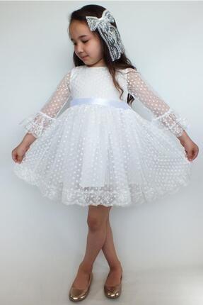Miço Kids Beyaz Dantelli Kız Çocuk Elbise