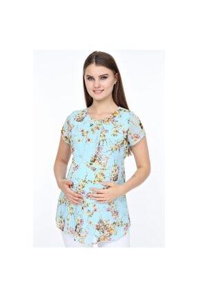 TRENDY Kadın Mavi Hamile Şifon Bluz