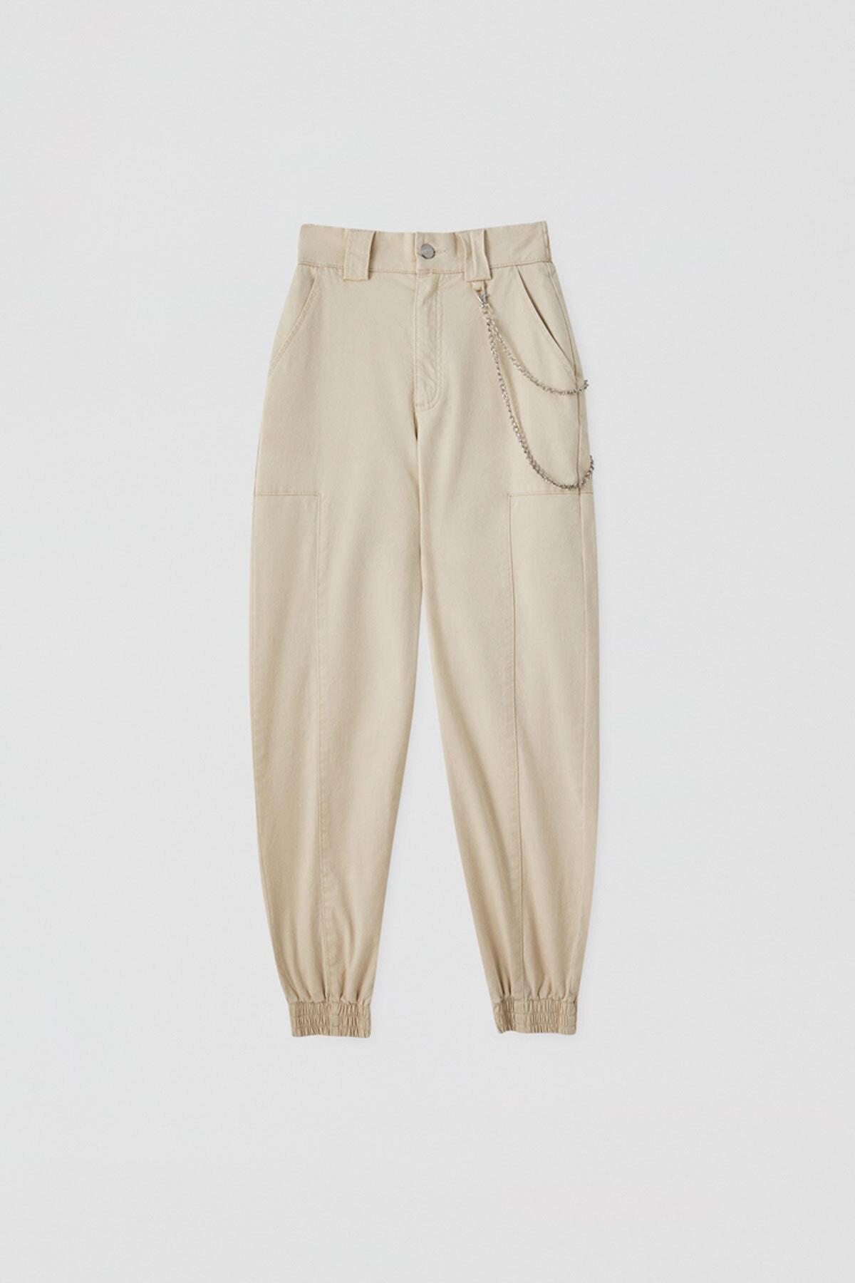 Pull & Bear Kadın Zincirli Kargo Pantolon 05671301 1