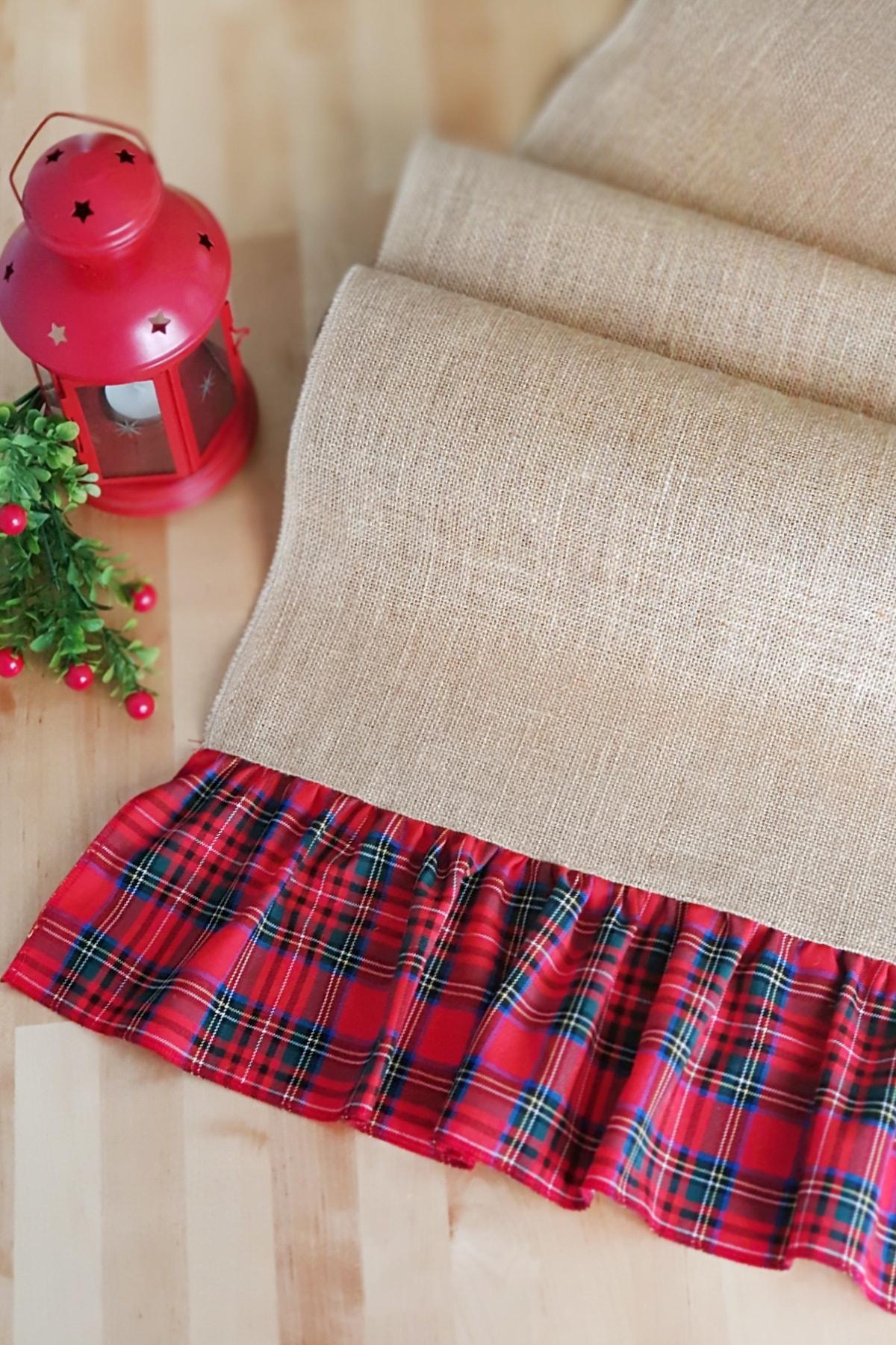 Funbou Jüt runner, kırmızı ekoseli / 45x185 cm 1