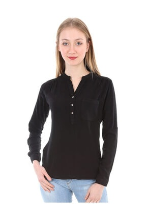 Bigdart Kadın Siyah Hakim Yaka Tek Cepli Gömlek Bluz 3444BGD19_001