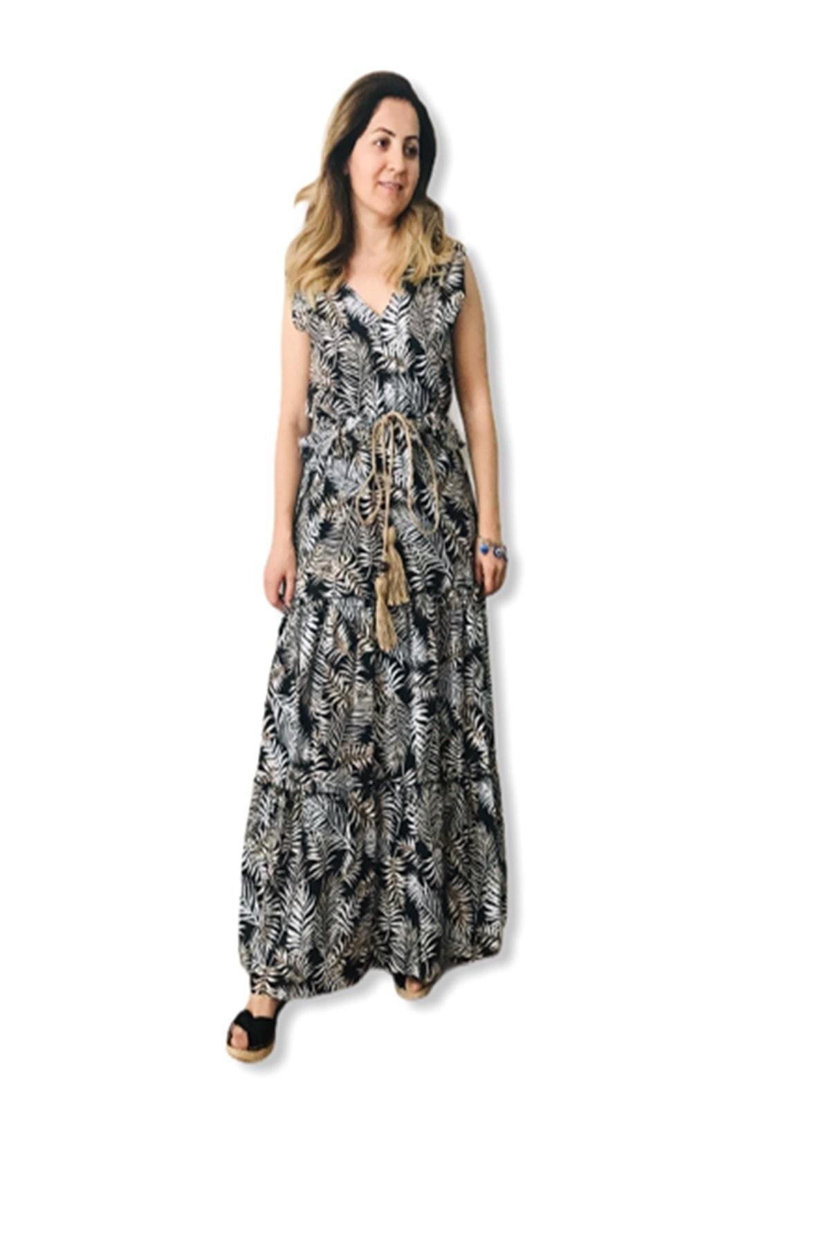 asudincer boutique Kadın Siyah Yaprak Desenli Kendinden Kemerli Elbise 1