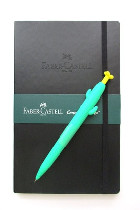 Faber Castell A5 Suni Deri Lastikli Ajanda Ve Silikon Kaktüs Versatil 0.7m Kalem