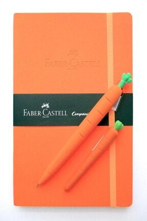 Faber Castell A5 Suni Deri Lastikli Ajanda Ve Silikon Havuç Versatil 0.7m Kalem