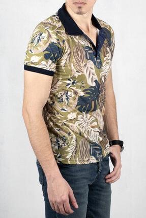 DeepSEA Erkek Yeşil Polo Yaka Desenli Düğme Detaylı Slim Fit Tişört 2000105