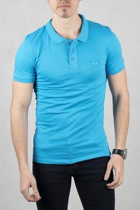 DeepSEA Turkuaz Erkek Düğmeli Polo Yaka Kısa Kol T-shirt