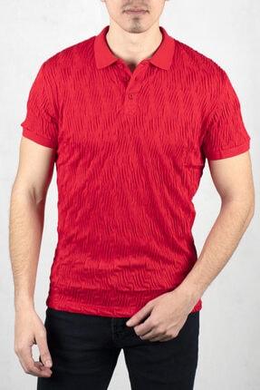 DeepSEA Kırmızı Desenli Polo Yaka Kısa Kol T-shirt