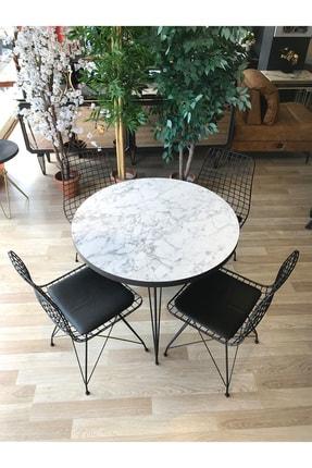 TE-HOME Balkon Masası Yuvarlak + 4 Sandalye Beyaz Mermer Çap 90