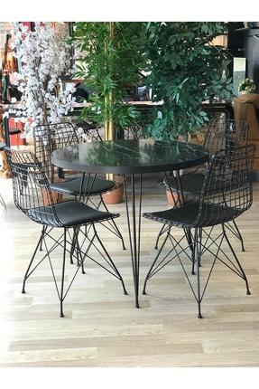 TE-HOME Balkon Masası Yuvarlak + 4 Sandalye Siyah Mermer Çap 90